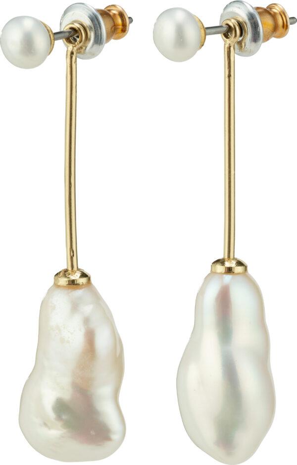 112122003 earrings gold plated white karma pilgrim