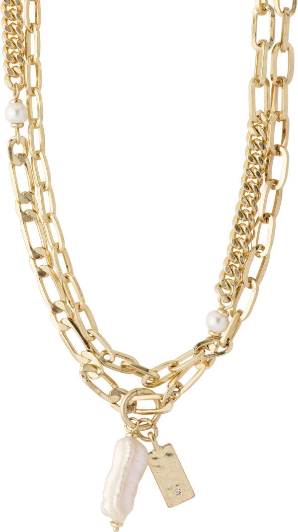 112122011 necklace gold plated white karma pilgrim