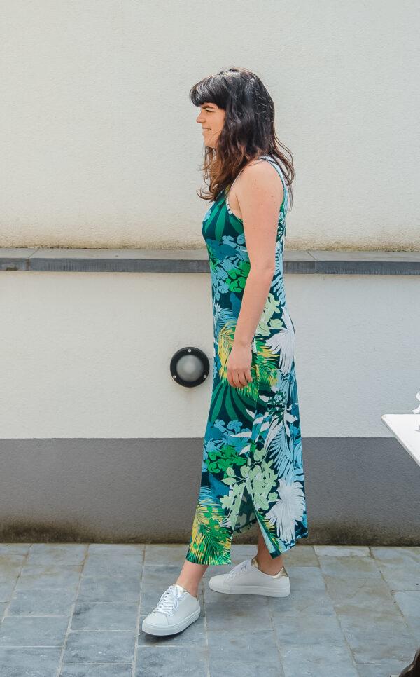 geisha lange jurk tropisch blauw karma 2