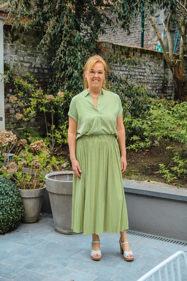 samsoeensamsoe plisse rok pistache groen karma 3