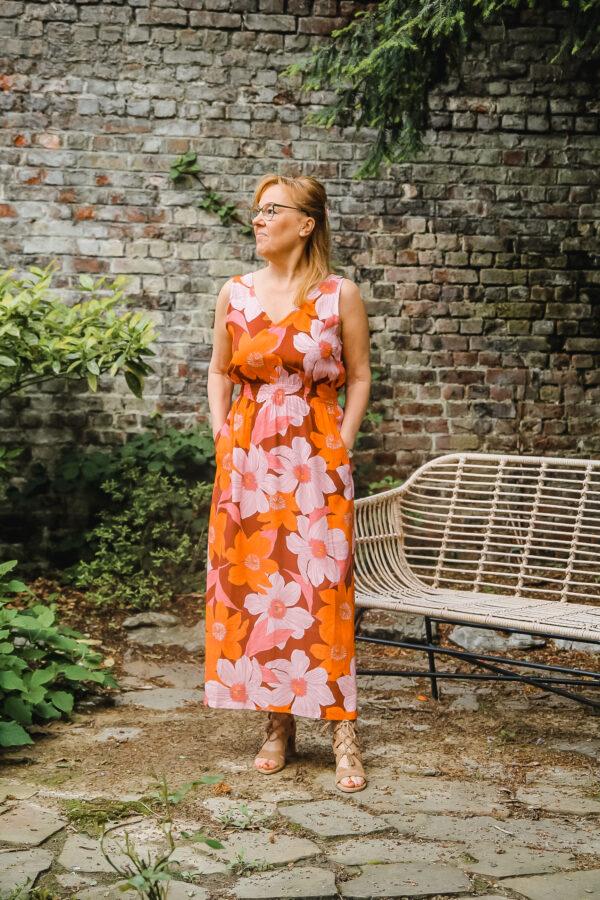 nathalie vleeschouwer jurk crepe viscose pink flowers 2