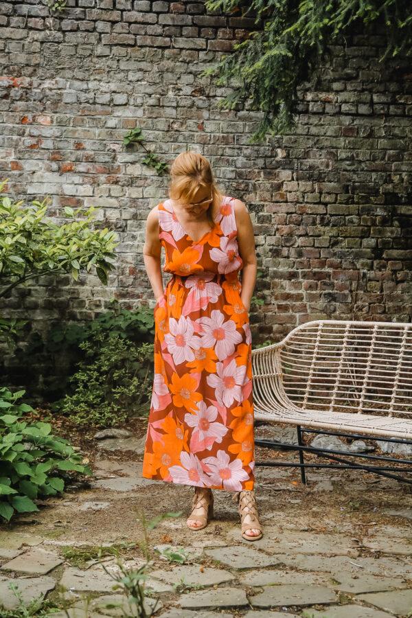 nathalie vleeschouwer jurk crepe viscose pink flowers 1