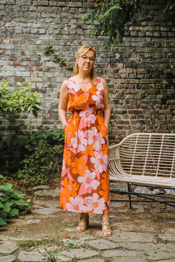 nathalie vleeschouwer jurk crepe viscose pink flowers 3